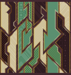 retro geometric cloth pattern with gold frame vector image
