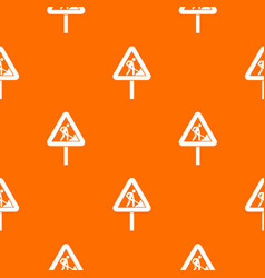 Road works sign pattern seamless vector