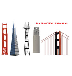 San francisco golden gate bridge and landmarks vector