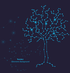 science tree made connected lines and dots vector image