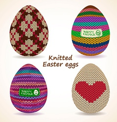 Set knitted easter eggs icons vector