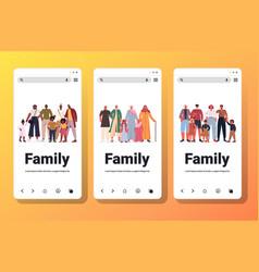 Set mix race multi generation families happy vector