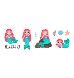 set of beautiful mermaids with pink hair lol vector image