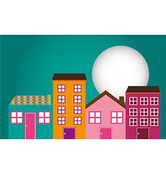 Set of houses on street vector