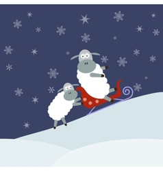 Sheep sledding vector