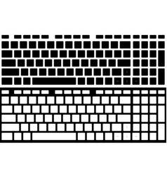 Silhouette computer keyboard isolated black and vector