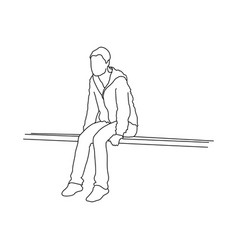 Silhouette of teenager sitting on ground thinking vector