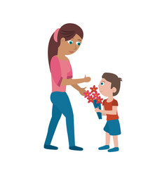 son giving flowers to his mom vector image