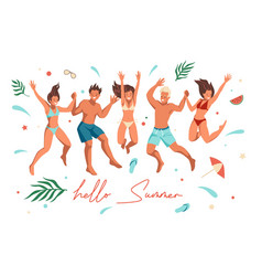 summer beach people happy friends jumping vector image