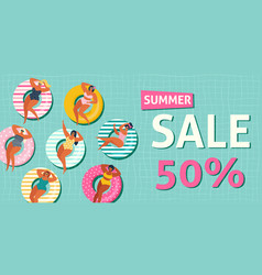 summer sale banner with gils on inflatable vector image