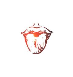 taste tongue sense lick lips concept hand vector image