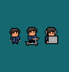 three pixel art male characters standing still vector image