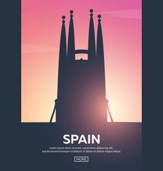 travel poster to spain landmarks silhouettes vector image