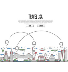 Travel usa poster in linear style vector