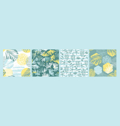 trendy sea seamless patterns with hand drawn vector image