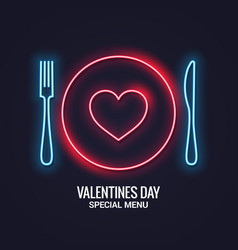 valentines day neon menu fork and knife with vector image