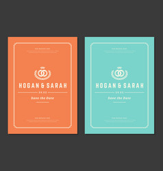 wedding save date invitations cards design vector image