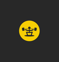Weightlifter logo round shape weightlifting sport vector