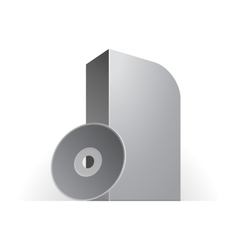 White Software Box With Rounded Corners Whith Disk vector image