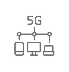 Wireless 5g internet distribution line icon vector