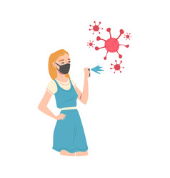 young woman wearing black protective mask spraying vector image