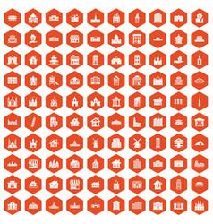100 building icons hexagon orange vector