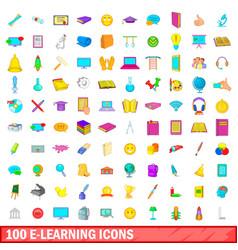 100 e-learning icons set cartoon style vector