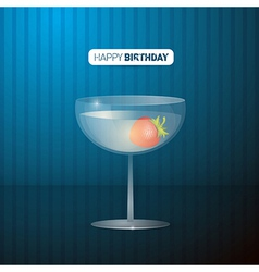 Retro Blue Happy Birthday Background With Drink vector image vector image