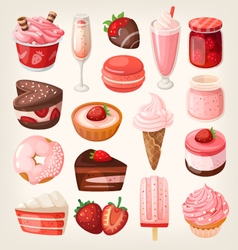 Strawberry desserts vector image