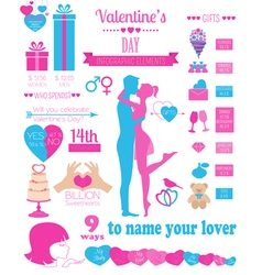 Valentines day infographic Flat style love graphic vector image