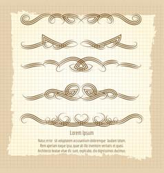 vintage decorative filigree swirled ornaments vector image