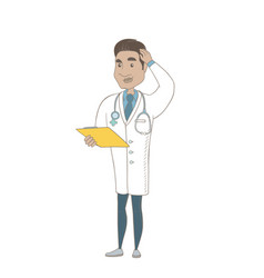 young hispanic doctor scratching his head vector image