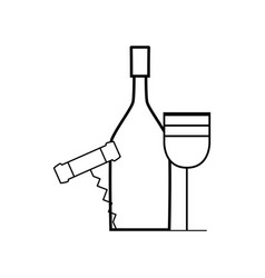 figure wine bottle and glass with corkscrew vector image vector image