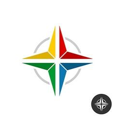 Geometric colorful star logo Rainbow flat colors vector image
