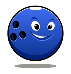 Happy colourful blue cartoon bowling ball vector image