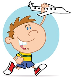 Happy Little Boy Playing With Airplane vector image