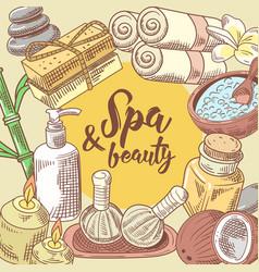 spa salon wellness beauty hand drawn design vector image