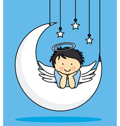 Angel on a Moon vector image vector image
