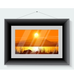 Black frame with the picture of landscape vector image