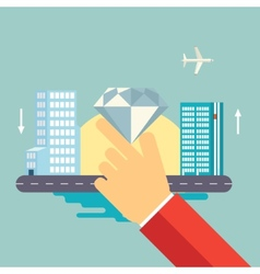 Hand Holds a Jewel on Urban Landscape Icon vector image vector image