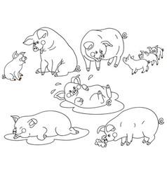 set of cute cartoon pigs vector image