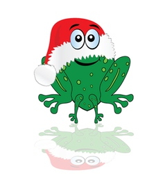 Green frog with christmas red hat vector