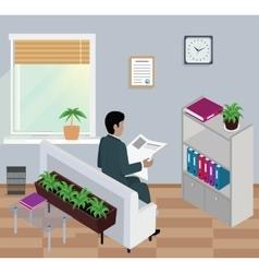 Isometric Man Reading Newspaper Design Flat vector image