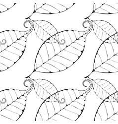 monochrome leaves background vector image vector image