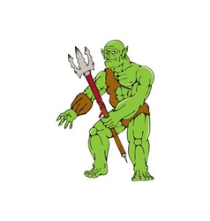 Orc Warrior Monster Trident Cartoon vector image