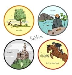 set of hobbies travel sport fishing vector image vector image