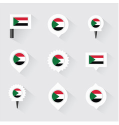 sudan flag and pins for infographic and map design vector image vector image