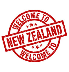 welcome to new zealand red stamp vector image vector image