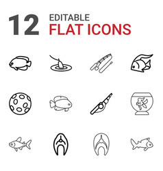 12 fish icons vector