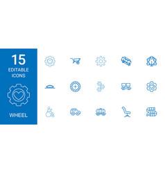 15 wheel icons vector